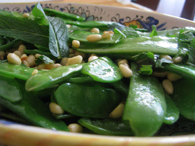 Snow Peas with Garlic, Pine Nuts and Mint