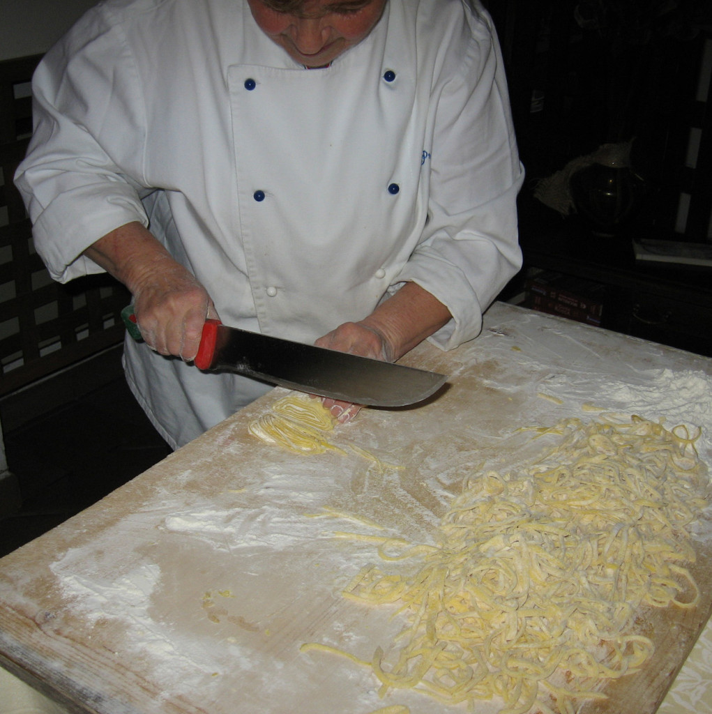 Cutting the dough to make strangozzi.