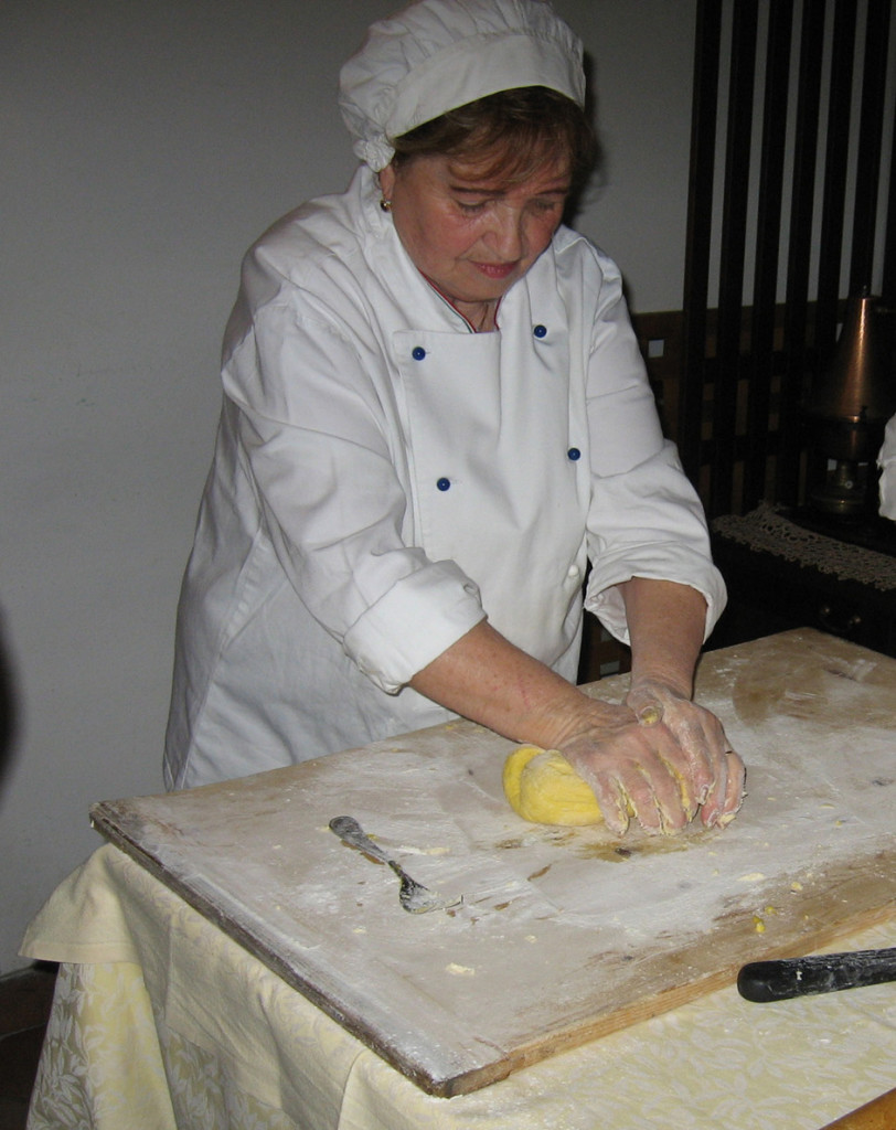 Kneading dough for strangozzi
