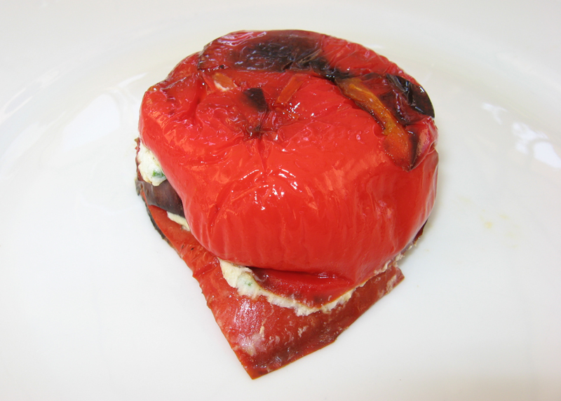 Roasted Pepper and Eggplant Cheese Terrine