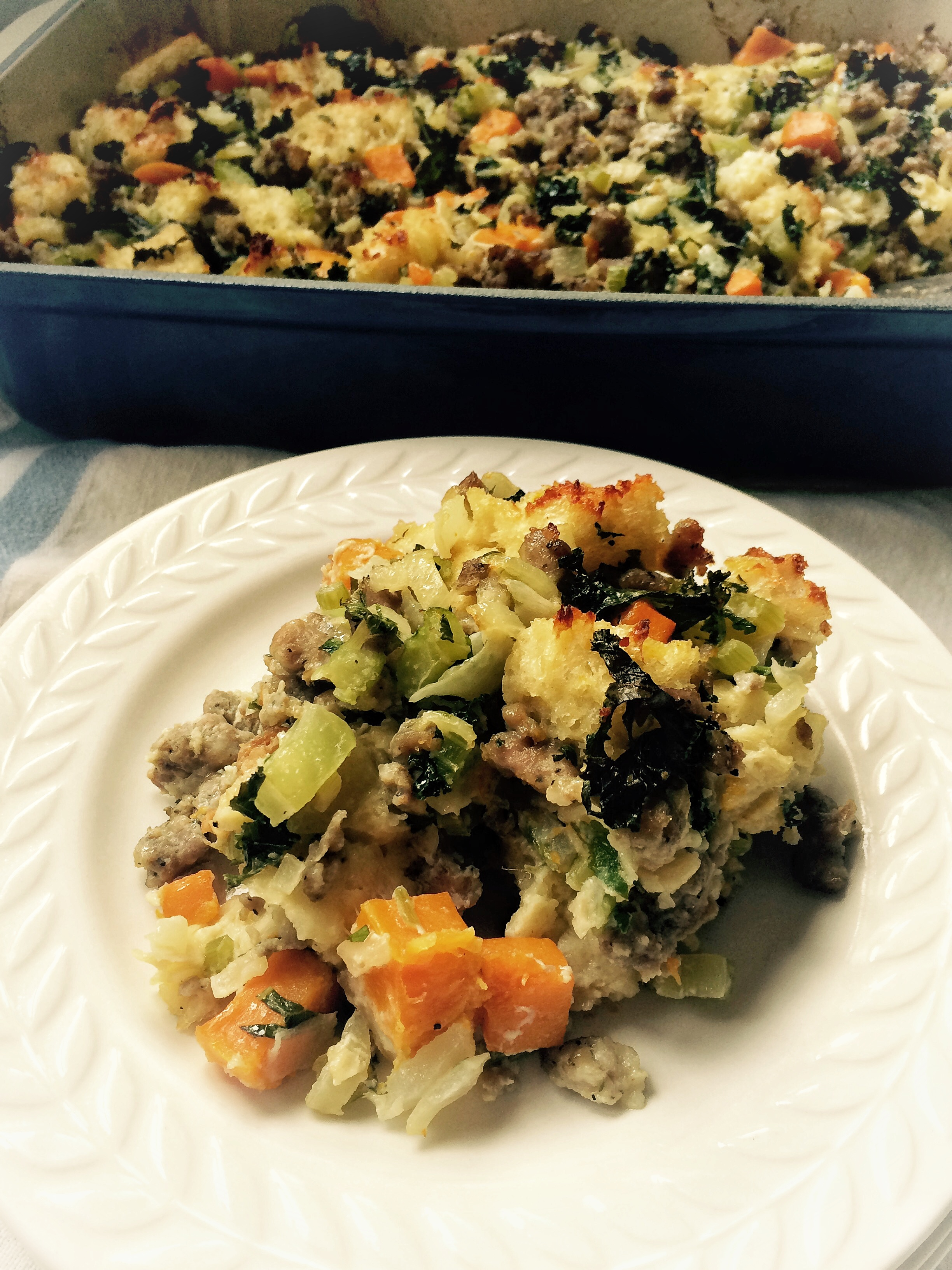 Italian stuffing with kale and butternut squash